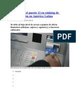 Perú Ocupa El Puesto 11 en Ránking de Bancarización en América Latina