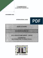 Chemistry Mark Scheme Nov 2002 Paper 6