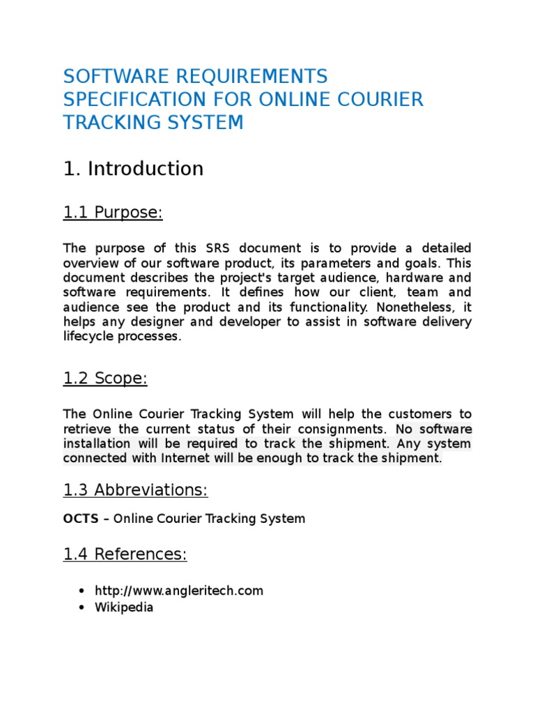 Software Requirements Specification for Online Courier Tracking