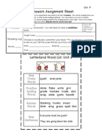 Week of Oct 1 Homework Sheet + Letterland Unit 4 List