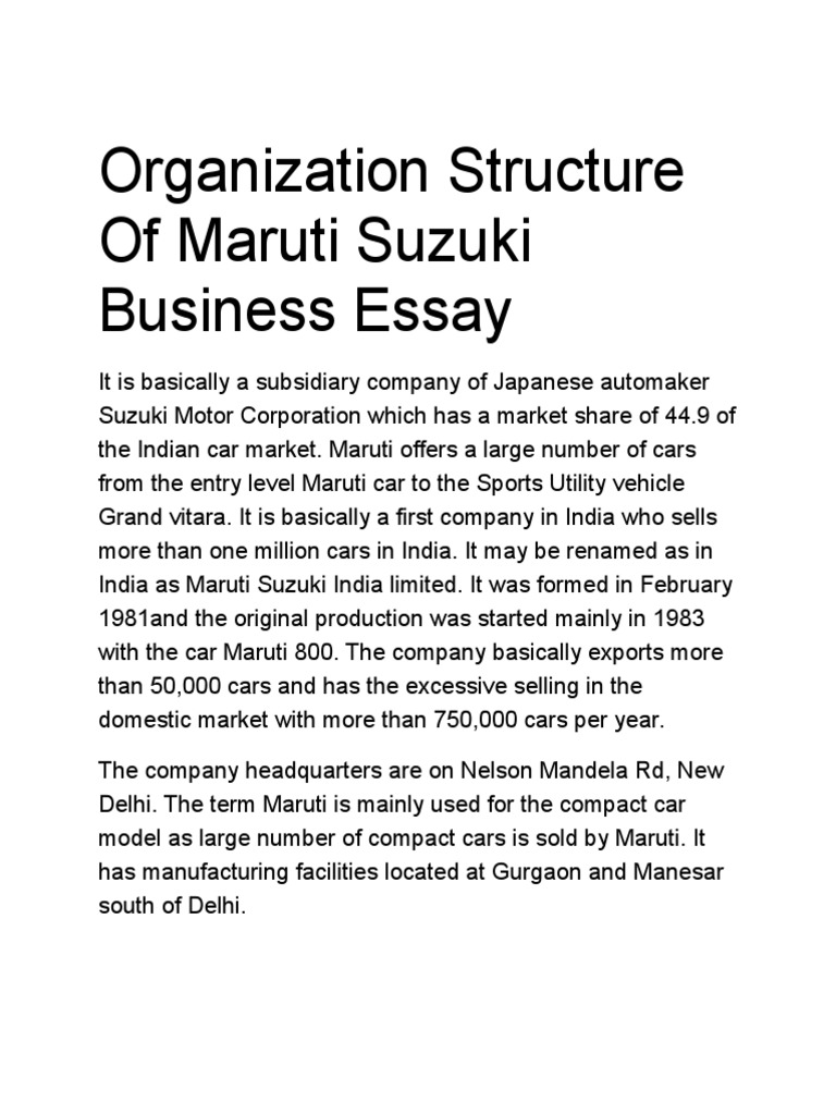 Organization Structure Of Maruti Suzuki Business Essay | Organizational  Structure | Automotive Equipment