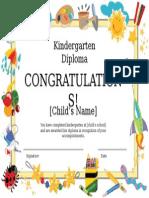 Kindergarten Diploma Certificate Powerpoint Template
