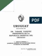 Discurso de Tabaré Vázquez ante la Asamblea General de la ONU