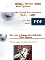 Corrosion of Copper and Copper Alloys in Potable Water Systems