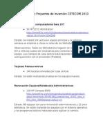 Informe Avance Proyectos - Trabajos CETECOM 2013