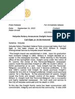 Holyoke Rotary Club to present Dwight Award to Carl Eger Jr.