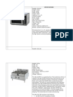 Kitchen Equipment and Specifications