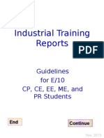 E10 CE CP ME PR Guidelines for Training Reports