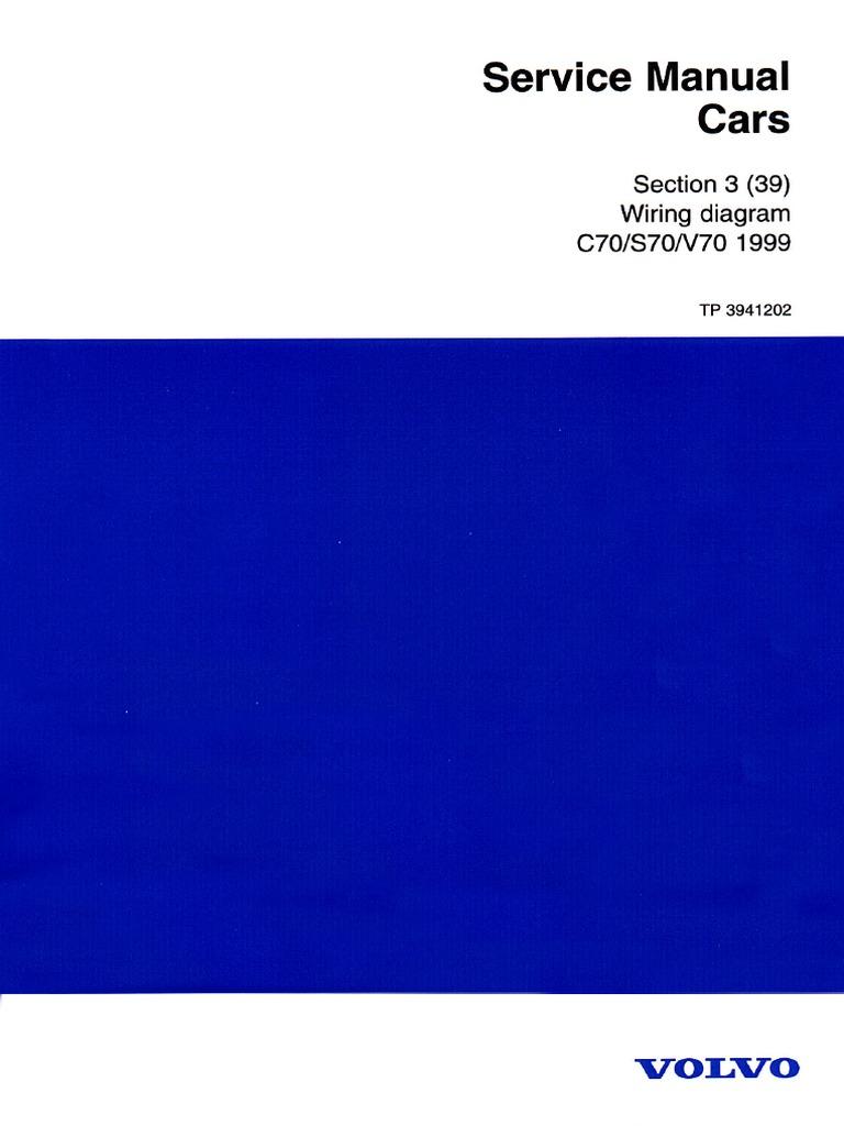 Volvo C70 S70 V70 1999 Wiring Diagrams | Anti Lock Braking System |  Automotive Industry | Volvo S70 Wiring Diagram Pdf |  | Scribd