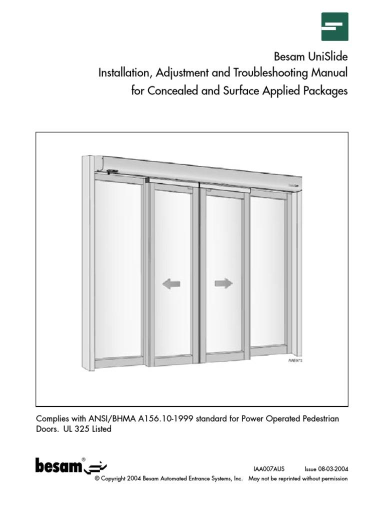 iaa007aus unislide install manual 8 3 04 door electromagnetic rh pt scribd com Automatic Sliding Doors Besam Unislide Parts