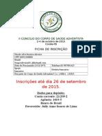 Ficha de Inscrição Concílio 2015
