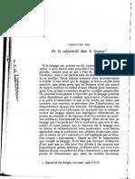 Benveniste, De La Subjectivite_ Dans Le Langage