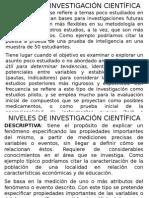 NIVELES DE INVESTIGACIÓN Y DISEÑO DE INVESTIGACIÓN