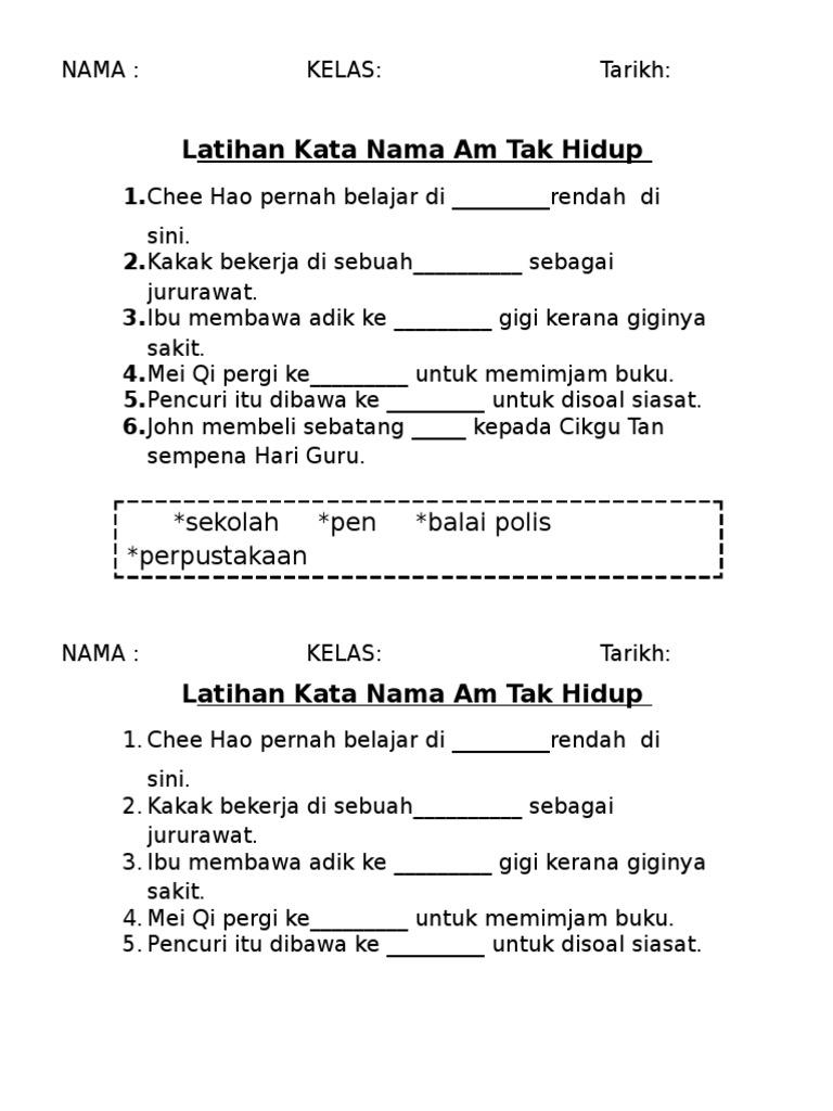 Latihan Kata Nama Am Tak Hidup