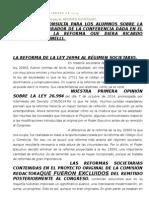 Material de Consulta Para Los Alumnos Sobre La Base de Un Borrador de La Conferencia Dada en El Posgrado de La Reforma Que Diera Ricardo Ludovico Gulminelli.