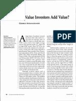 Athanassakos, G. 2011. Do Value Investors Add Value. Journal of Investing, 20(2), 86-100.