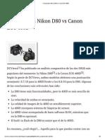 Comparativa Nikon D80 vs Canon EOS 400D