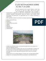 Valores de Los Teotihuacanos Sobre El Sol y La Luna