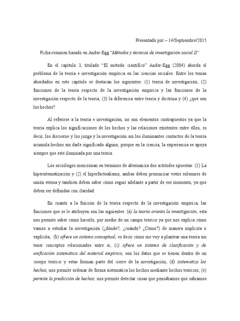 Ficha Resumen de Metodos y Tecnicas de Investigacion Social