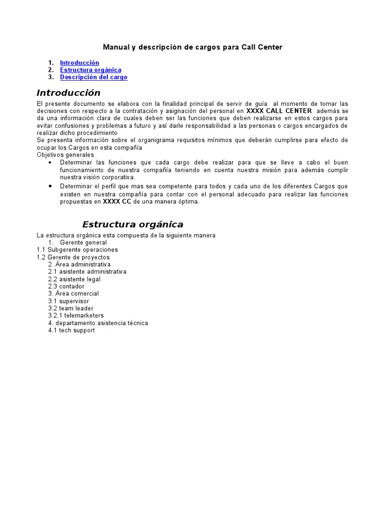 Manual y Descripcion Cargos Callcenter