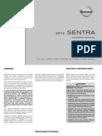 2013 Nissan Sentra Owner Manual