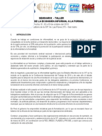 SEMINARIO TALLER TRANSICION DE LA ECONOMIA INFORMAL A LA FORMAL