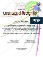 Certificate TRAINORS