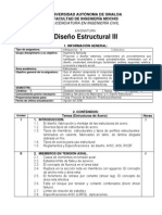 Programa de La Materia Diseño Estructural III