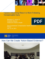 Factors Influencing Return to Work Following Compensable Injury Ben Amick ACHRF 2011