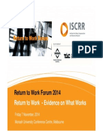 Return to Work Forum Presentation Collie Iles Cooney 2014