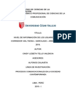 Nivel de Información Corredor Vial Tga Lima Peru