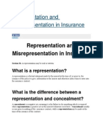 Representation and Misrepresentation in Insurance