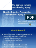 Predictors of Poor Outcome Amongst Injured Workers Rebbecca Lilley ACHRF 2012