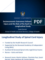 Socioeconomic Outcomes Following Spinal Cord Injury and the Role of No-fault Compensation Sarah Derrett ACHRF 2013