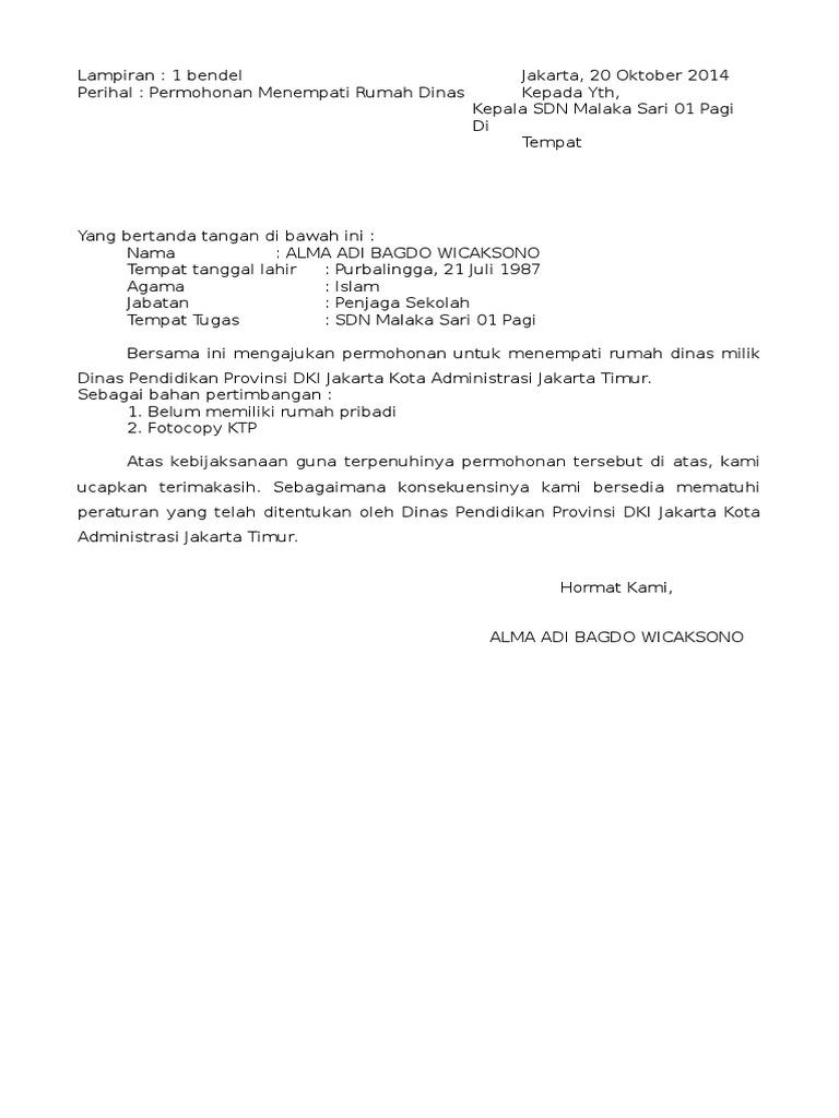 SURAT PERMOHONAN MENEMPATI RUMAH DINAS.docx