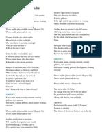 Mr.Lees Moon Phase Rap Lyrcis Sheet