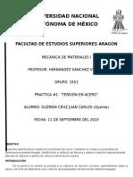 Practica 1 Tension en Acero MECANICA de MATERIALES 1