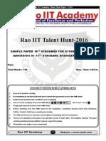 Talent Hunt Sample Papers Std 10th PCM 28-09-2015