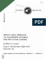 Monte Carlo Approach to Touchdown Dynamics for Soft Lunar Landing