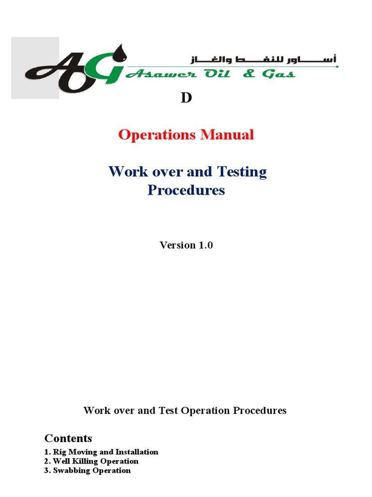 workover operations manual drilling rig casing borehole rh scribd com User Manual Procedure Manual Template