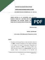 Adjudication order in respect of Brijmohan Rathi in the matter of Maharashtra Polybutenes Ltd