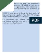 Report of NEXUS'09