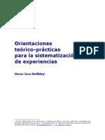 Orientaciones Teorico-practicas Para Sistematizar Experiencias