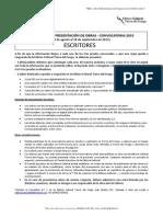 Requisitos Escritores Convocatoria 2015