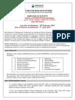 Admission to FPM Programme July 2015 Batch1
