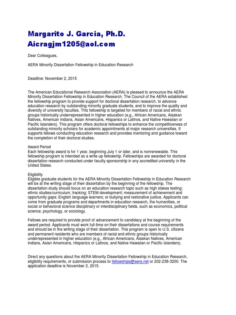aera minority dissertation fellowship 2013
