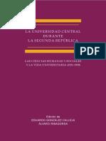 La Universidad Central durante la Segunda República. Las Ciencias Humanas y Sociales y la vida universitaria