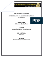 Determinacion de Alcalinidad, Dureza y Cloruros