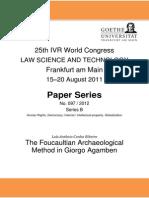 The Foucaultian Archaeological Method in Giorgo Agamben. Ribeiro, Luis Antonio