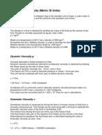 Viscosity and Density (Metric SI Units)